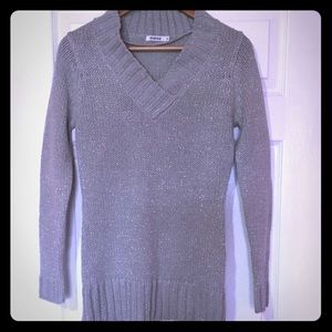 Silver Grey V-Neck Sweater